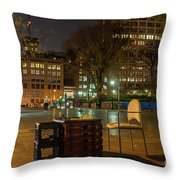 View Of Chess Board In The Middle Of Busy Sidewalk At Night Throw Pillow
