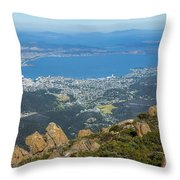 View Of City From Mountain Top Throw Pillow