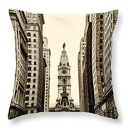 View Of Cityhall From Broad Street In Philadelphia Throw Pillow by Bill Cannon