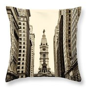 View Of Cityhall From Broad Street In Philadelphia Throw Pillow