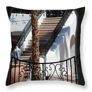 View Of Courtyard Through Adobe Doorway Photograph By Colleen Throw Pillow