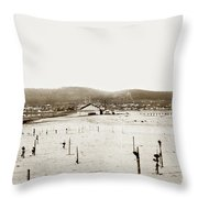 View Of Del Monte Bath House Looking Southwest Towards Monterey  Throw Pillow