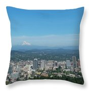 View Of Downtown Portland Oregon From Pittock Mansion Throw Pillow