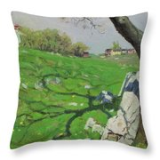 View Of Dresden, Germany In The 19th Century. From Pictures From The German Fatherland Published C.1 Throw Pillow