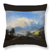 View Of Gmunden On Traunsee Throw Pillow