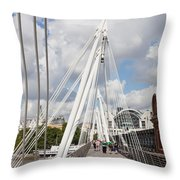 View Of Golden Jubilee Bridge, Thames Throw Pillow