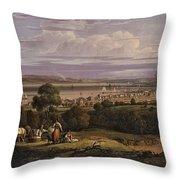 View Of Greenock  Scotland 1816 By Robert Salmon Throw Pillow