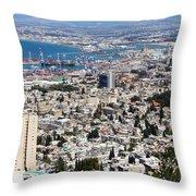 View Of Haifa Throw Pillow