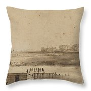 View Of Houtewael Near The Sint Anthoniespoort [recto] Throw Pillow