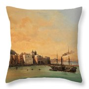 View Of Ischia From The Sea Throw Pillow