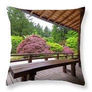 View Of Japanese Garden From The Veranda Throw Pillow