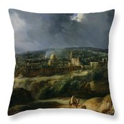 View Of Jerusalem From The Valley Of Jehoshaphat Throw Pillow