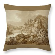 View Of Karlsbad In The Foreground A Young Mother With Her Children Throw Pillow