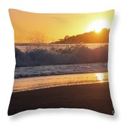 View Of Large Fishing Boat From The Beach At Sunset Throw Pillow