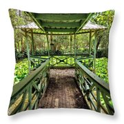 View Of Lily Pads From Gazebo By Kaye Menner Throw Pillow