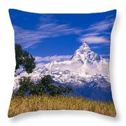 View Of Machhapuchhare From Sarangkot Throw Pillow