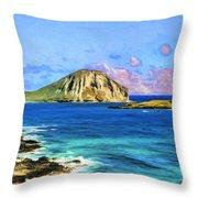 View Of Makapuu And Rabbit Island Throw Pillow