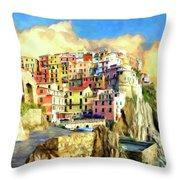 View Of Manarola Cinque Terre Throw Pillow