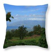 View Of Mauna Kahalewai West Maui From Keokea On The Western Slopes Of Haleakala Maui Hawaii Throw Pillow