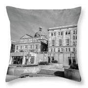 View Of Montgomery County Courthouse From The Southside In Black Throw Pillow