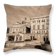 View Of Montgomery County Courthouse From The Southside In Sepia Throw Pillow