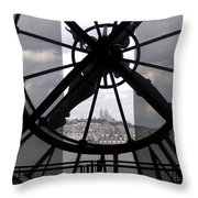 View Of Montmartre Through The Clock At Museum Orsay.paris Throw Pillow