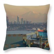 View Of Mount Baker And Vancouver Bc At Sunset Throw Pillow