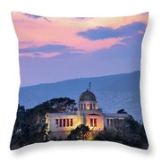 View Of National Observatory Of Athens In The Evening, Athens, G Throw Pillow