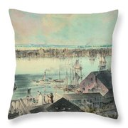 View Of New York From Brooklyn Heights Ca. 1836, John William Hill Throw Pillow