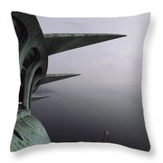 View Of New York Harbor From The Top Throw Pillow by Paul Chesley