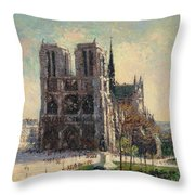 View Of Notre Throw Pillow
