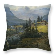 View Of Oylo Farm, Valdres Throw Pillow