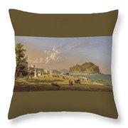 View Of Palermo 1845, Robert Salmon Throw Pillow