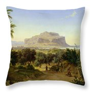 View Of Palermo With Mount Pellegrino Throw Pillow by August Wilhelm Julius Ahlborn