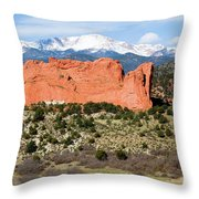 View Of Pikes Peak And Garden Of The Gods Park In Colorado Springs In Th Throw Pillow