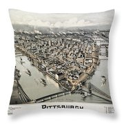 View Of Pittsburgh, 1902 Throw Pillow