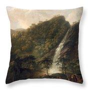 View Of Powerscourt Waterfall Throw Pillow