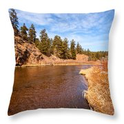 View Of River Around The Bend Throw Pillow