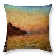View Of San Giorgio Maggiore Venice By Twilight Throw Pillow by Claude Monet