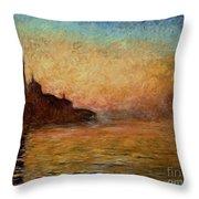View Of San Giorgio Maggiore Venice By Twilight Throw Pillow