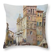 View Of Santa Maria In Monticelli, Rome  Throw Pillow