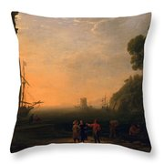 View Of Seaport Throw Pillow by Claude Lorrain