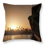 View Of Setting Sun Over Santa Barbara, Ca Throw Pillow