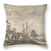 View Of Several Houses Facing The Port Throw Pillow