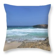 View Of Small Aruba Rock Formation On Boca Keto Throw Pillow
