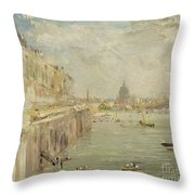 View Of Somerset House Terrace And St. Paul's Throw Pillow