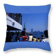 View Of Statue And Towers Throw Pillow
