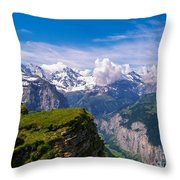 View Of The Swiss Alps Throw Pillow