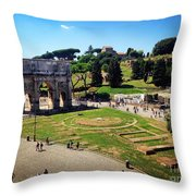 View Of The Arch Of Constantine From The Colosseum Throw Pillow