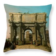 View Of The Arch Of Constantine With The Colosseum Throw Pillow